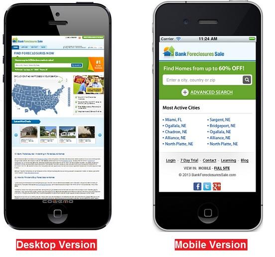 Mobile Website Comparison - Desktop VS Mobile